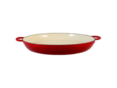 Le Chef Enameled Cast Iron Red Paella Pan 2 1/2-qt. Cast Iron Paella Pan