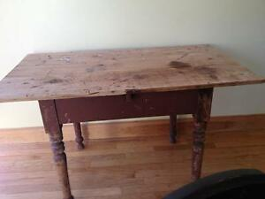 Nice, Antique, Turned Leg Pine Table