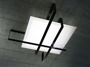 lampadario design moderno plafoniera soffitto acciaio nero vetro