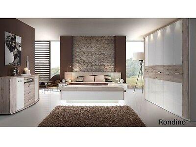 Schlafzimmer Rondino mit Drehtürenschrank inkl. Beleuchtung Bett Kommode 109882