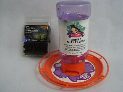 Oriole Grape Jelly Wild Bird 32 oz Feeder with 15 foot Jack Chain Black -