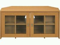 Beech corner TV Cabinet with 2 Glass Doors