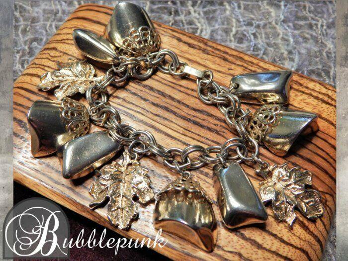 Mid-Century Vintage Golden Nugget Bauble Dangle Bracelet Kitschy Cute ~ Estate