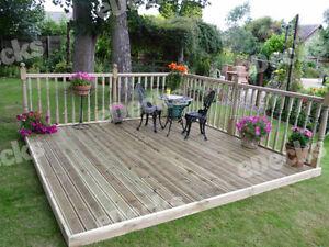 Reject decking kit with handrails x garden for Garden decking kits on ebay