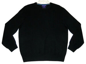 NWT Mens Alan Flusser 100% Pure Cashmere Black Sweater Large L