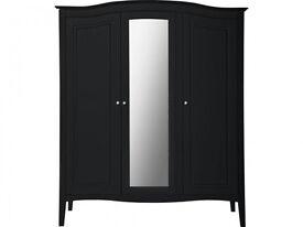 Heart of House Avignon 3 Door Mirrored Wardrobe - Black
