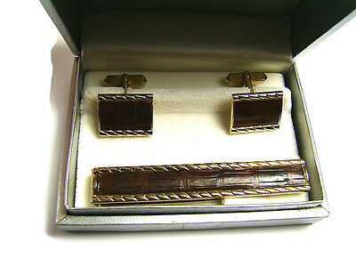Leather Set Cufflinks (  Mens Faux Leather Swank Cufflinks And Tie Tack Set )