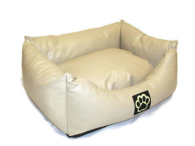 S WASHABLE CREAM FAUX LEATHER SMALL  DOG BED PET BED DOGBED PETBED