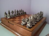 Antique Pewter Chess Set