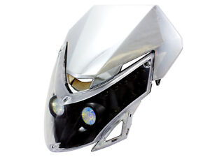 Motorcycle-Chrome-Head-Light-Fairing-Dual-Sport-Street-Fighter-Naked-Bike-Custom