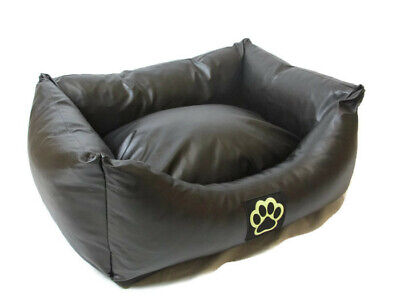 S WASHABLE BLACK FAUX LEATHER SMALL  DOG BED PET BED DOGBED PETBED