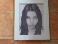 GOTHIC GIRL PICTURE IN SILVER PAINTED WOOD FRAME, WALL OR FREE STANDING (NEW)