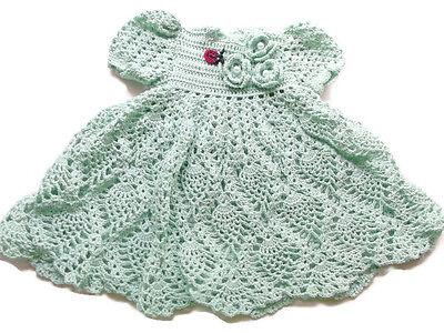Baby girl mint green Handmade Crochet Lace Dress Newborn Preemie Reborn doll
