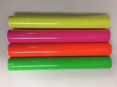 4 Rolls Fluorescent Vinyl Yellow Pink Green Orange 12 X 5 Feet Total 20 Feeet