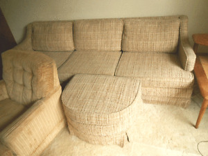2-7' couchs and 2 chairs and 2  teak tables and coffee table