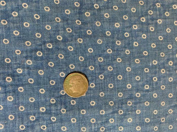 "Antique Fabric 19thc Indigo Blue Circles Faded Calico Quilt Doll 25.5""x12"" 2 ava"