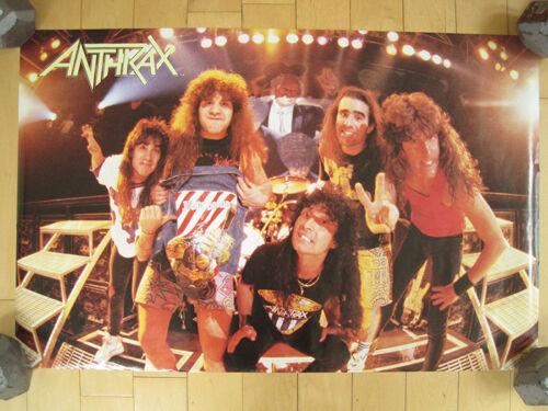 ORIGINAL!! 80s vtg ANTHRAX band promo POSTER tour CONCERT art MUSIC NOS 1987