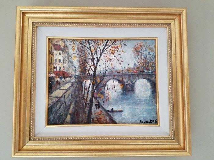Vintage Louis Dali Original Oil Painting Pont Marie Dated 1976 - $725.00