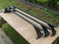 3 x Gutter fitting Roof Bars to fit a car or van 1350mm long, similar to Thule