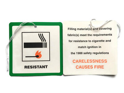 5 Fire Resistant Flame Retardant labels Swing Tags Furniture Upholstery -