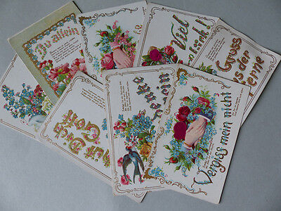 AK 8 Sprüchekarten Aus LIEBE, Du allein ca. 1900  nicht gelaufen