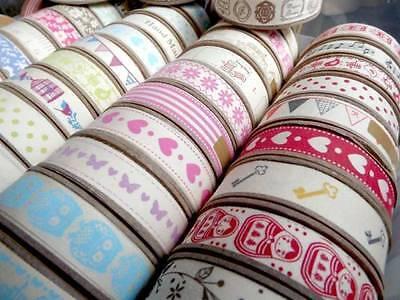 57 Vintage Styles Of Decorative Printed Natural Cotton Ribbon 5 Metres/Reel