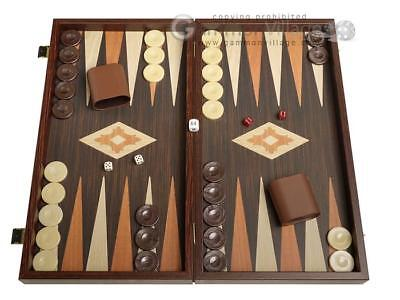- 19-inch Wood Backgammon Set - Wenge with Printed Field, Wooden Backgammon Board