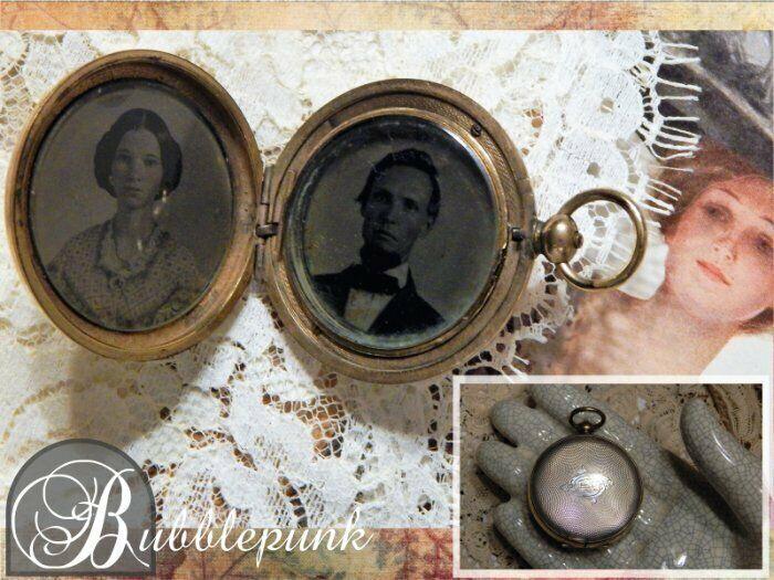 Antique Tintype Photographs ~ Fabric Swatch Pocket Watch Style Mourning Locket