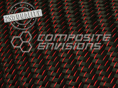 2nd Quality Red Reflections Carbon Fiber Fabric 2x2 Twill 3k 50 5.9oz200gsm