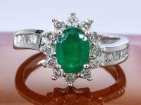 14 karat Gold - 1.10 Ct - elegant ring with diamond and emerald