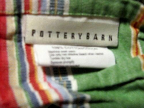 POTTERY BARN GREEN MULTI COLOR STRIPE F/Q DUVET W/ 2 EURO SHAMS NEW - $41.00