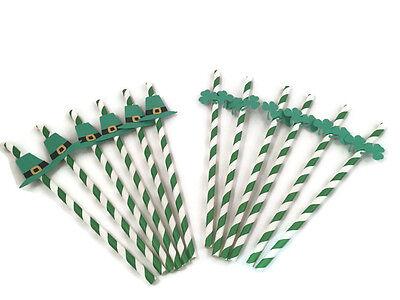 Irish themed party straws,shamrock and Irish hats green and white - Green And White Paper Straws