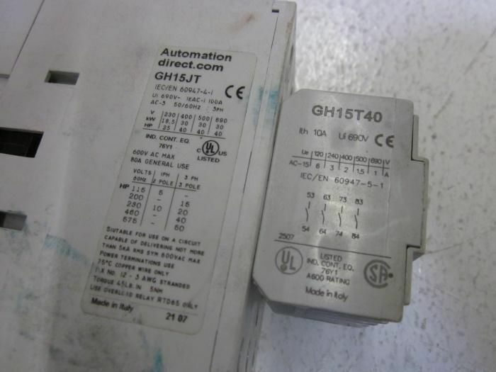 AUTOMATION DIRECT GH15JT / GH15T40 120V CONTACTOR *USED*
