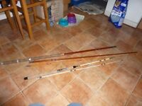 2X VINTAGE FISHING RODS PLUS REELS AND FLOATS WITH CLASSIC VINTAGE OXO TIN