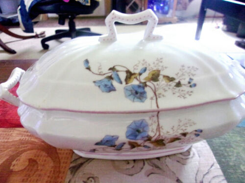 Casserole Ceramic Covered Dish Adorned With Blue and Pink Floral