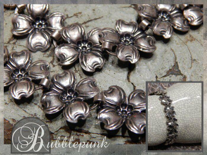 Vintage Signed BEAU STERLING Silver Dogwood Flower Link Bracelet Estate Jewelry