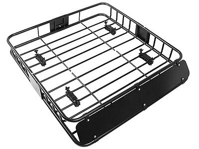 Black Universal Roof Rack Cargo Car Top Luggage Holder Carrier Basket Travel SUV