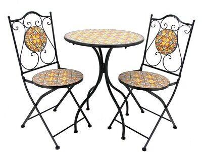 Mosaic Tile Bistro Set Barcelona, (1 Table, 2 Folding Chairs)