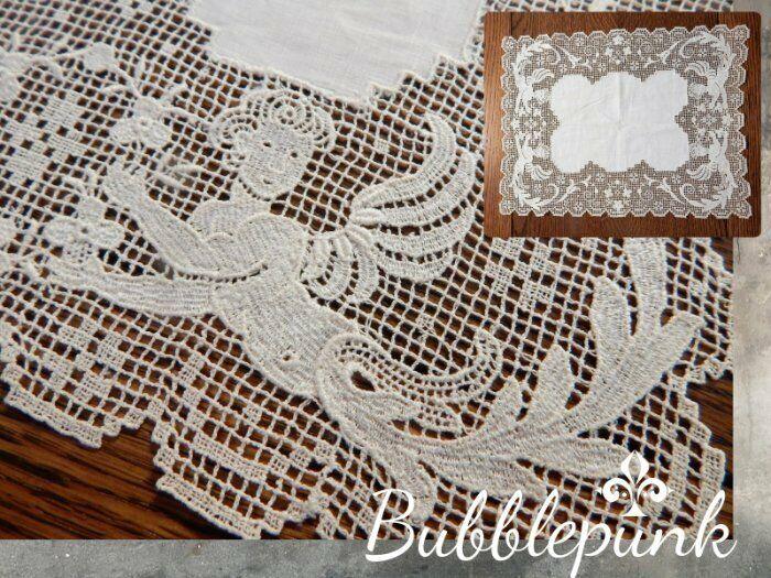 Superb Antique Cherub Wide Border Filet Net Lace Hankie Doily Runner ~ Bridal