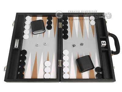 16-inch Premium Backgammon Set - Medium Size - Black Board, White/Rum Points