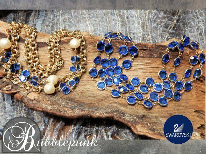 Authentic Vintage SWAROVSKI Sapphire Bezel Crystal Necklace Set ~ Sales Manager