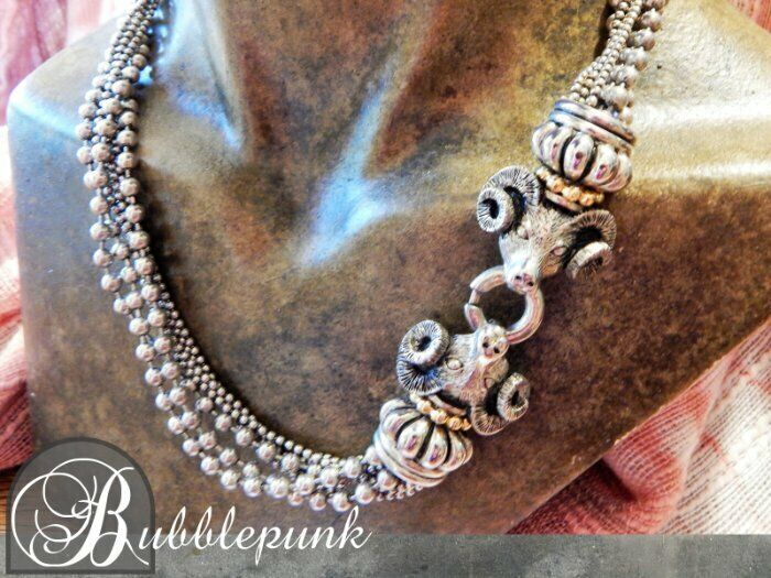 Vintage PISCITELLI Signed Figural Rams Head Silver Bead Torsade Couture Necklace