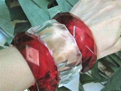 Lot 3 Bangle Bracelet Red Translucent Red Diamond Prismatic Chunky Clear Acrylic