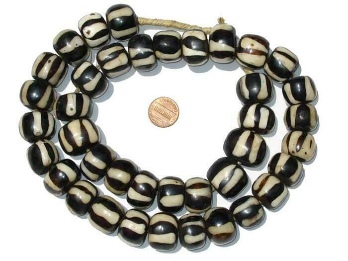 Zebra Design Batik Bone Beads Large 25mm Kenya African Black and White Round