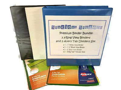 Premium Binder Bundle 3 Three-ring View Binders And 2 Avery Tab Dividers Set