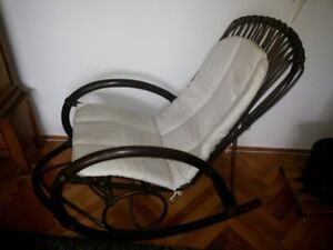 Chair rocking chair French rattan wood