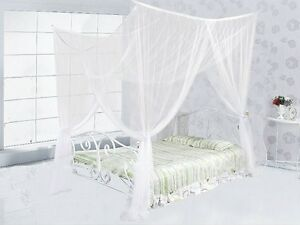 4-Four-Corner-Post-Bed-White-Canopy-Mosquito-Net-Full-Queen-King-Size-Netting