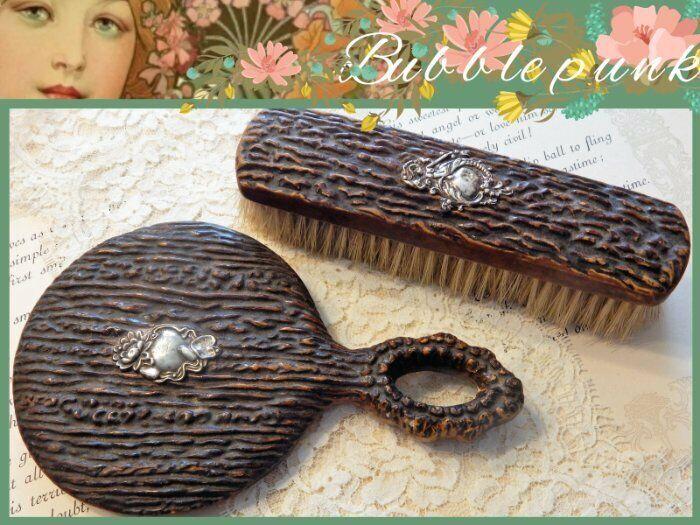 Antique Victorian Gnarled Wood Sterling Silver Hand Mirror Brush Vanity Set