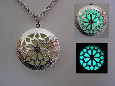Celtic Cross Glow In The Dark Locket Aqua Glow Necklace US Seller  ()