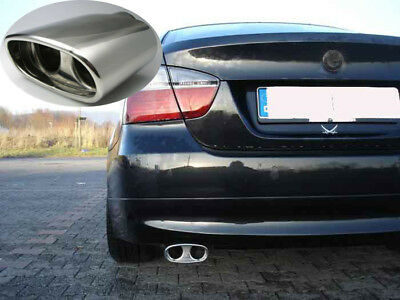 Auspuffblende Schwarz Endrohr Blende Chrom für BMW 3er e90 e91 vor Facelift